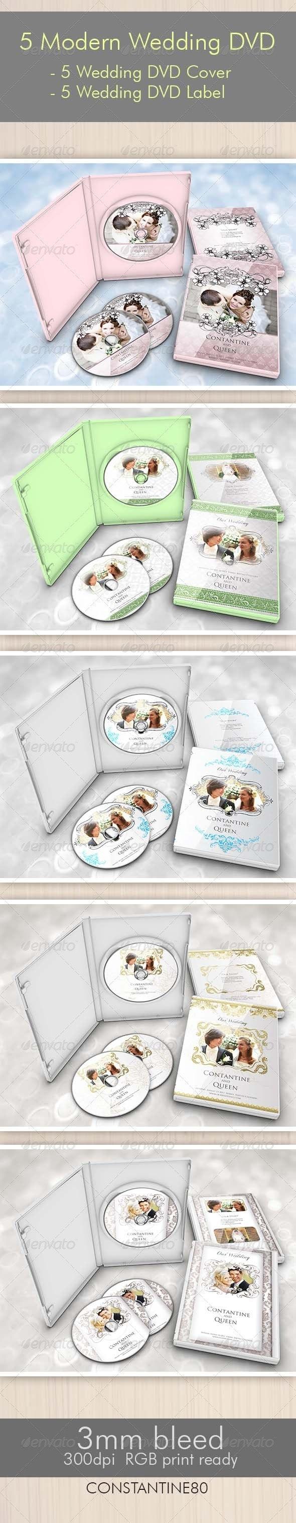 5 Items Modern Wedding DVD - CD & DVD Artwork Print Templates