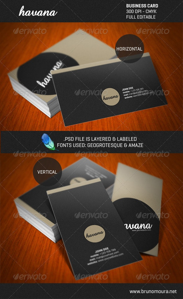 Havana - Grunge Style Business Card - Corporate Business Cards