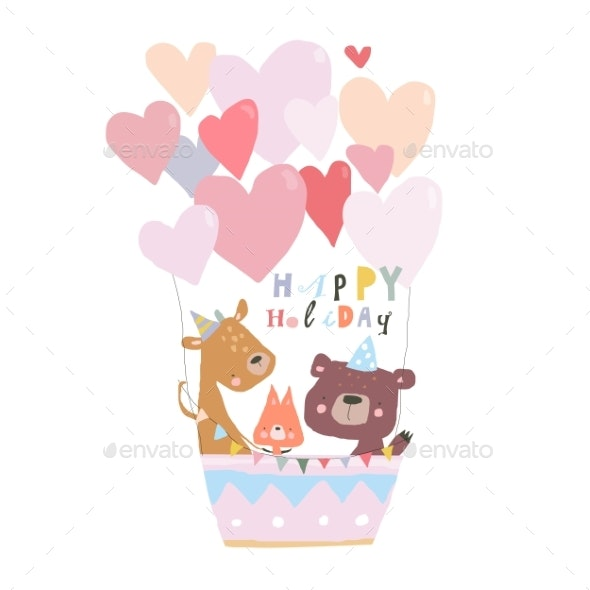 Birthday Card with Cute Animals Flying on Hot Air - Animals Characters