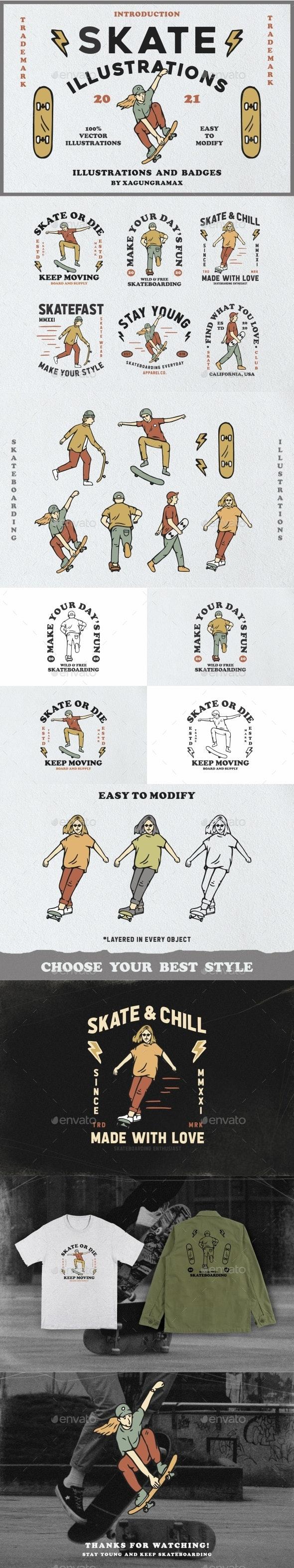 Skate Illustration And Badges - People Illustrations