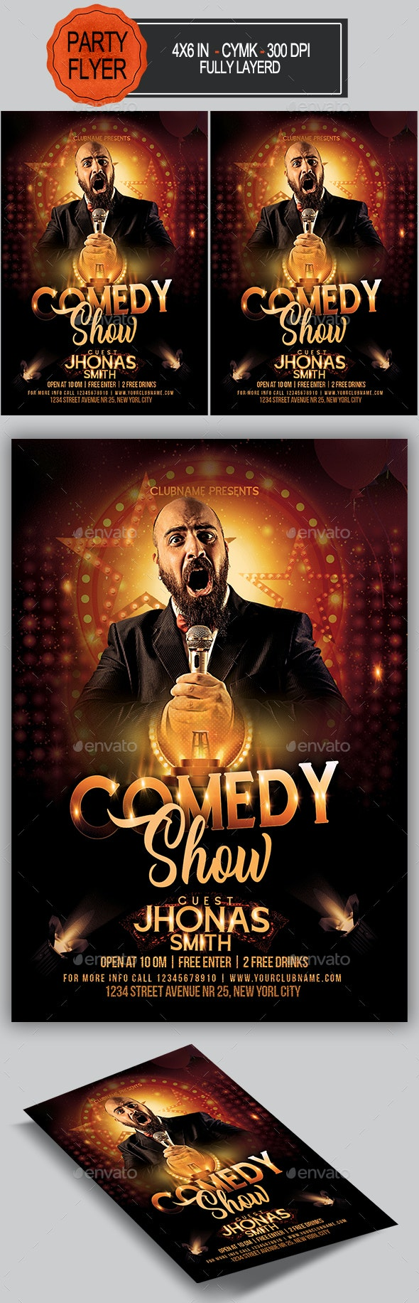 Comedy Flyer - Clubs & Parties Events