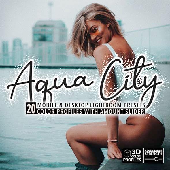 20 Aqua City Lightroom Presets, 3D Profiles