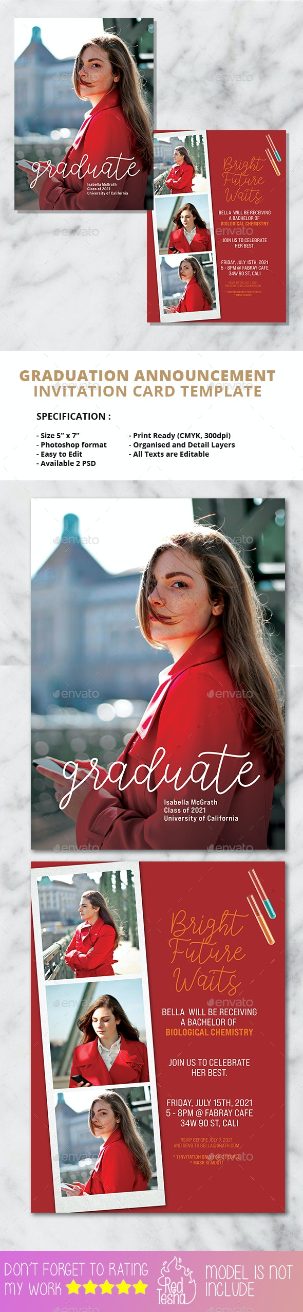 2 PSD Graduation Invitation Card - Invitations Cards & Invites