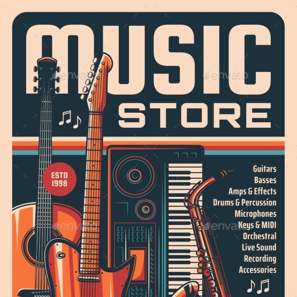 Music Instruments and Equipment Store Retro Banner