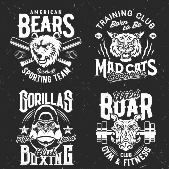 Tshirt Prints with Wild Animals Sport Club Mascots