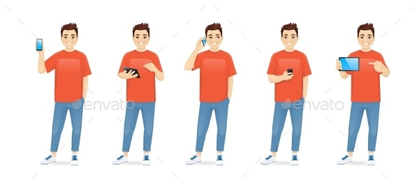 Young Man with Gadgets - People Characters