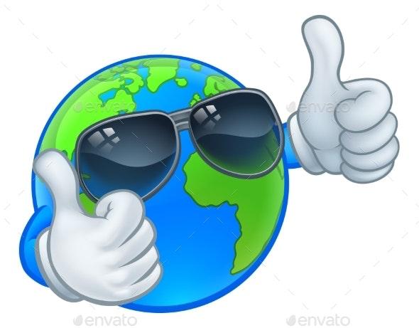 Earth Globe Shades Sunglasses Cartoon World Mascot - Miscellaneous Characters