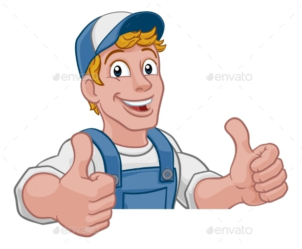 Handyman Cartoon Caretaker Construction Man Sign - Characters Illustrations