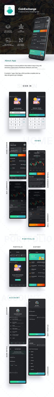 cryptocurrencies Trading App UI Kit   Coinexchange - User Interfaces Web Elements