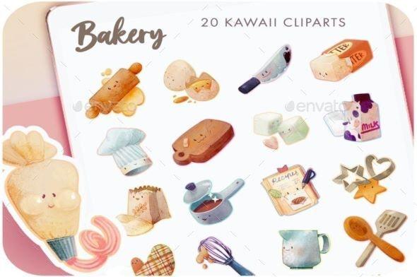 20 Digital Recipe Stickers, Food Cliparts, Bakery & Dessert - Graphics