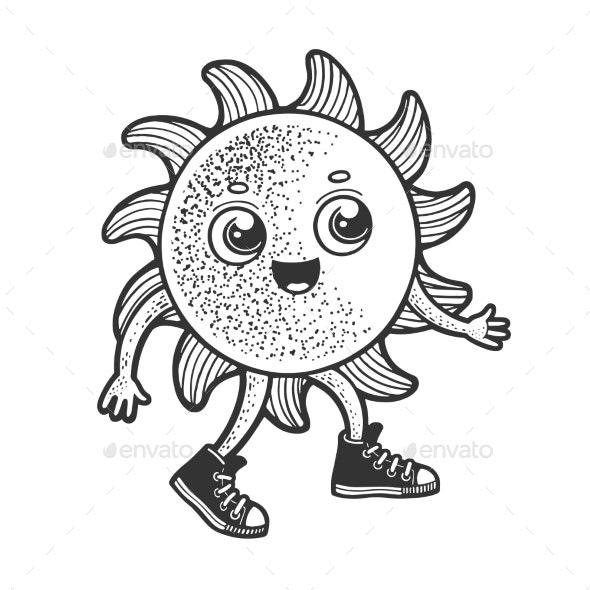 Cartoon Sun Walking Sketch Vector Illustration - Miscellaneous Vectors