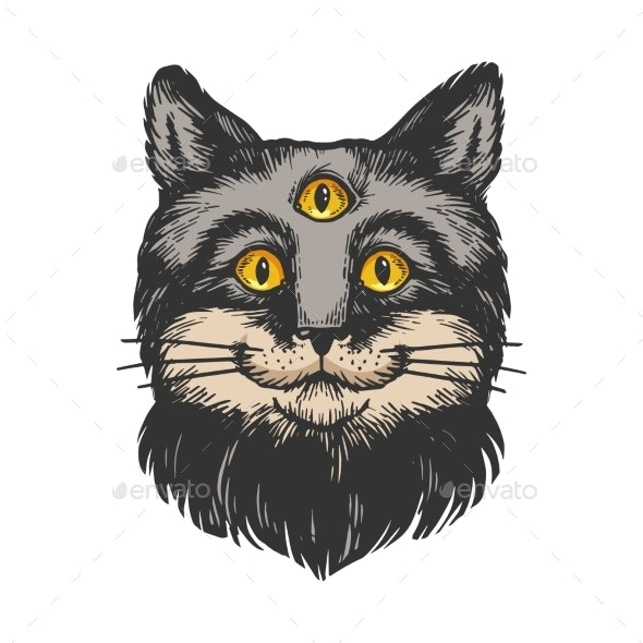 Cat with Three Eyes Engraving Vector Illustration - Animals Characters