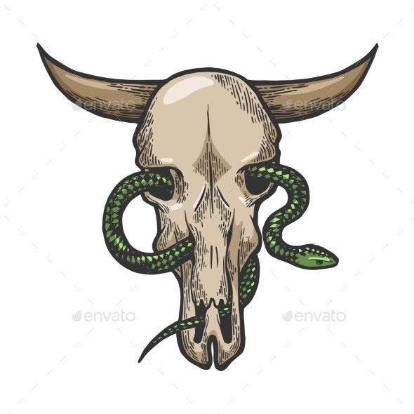 Snake in Cow Skull Sketch Engraving Vector - People Characters
