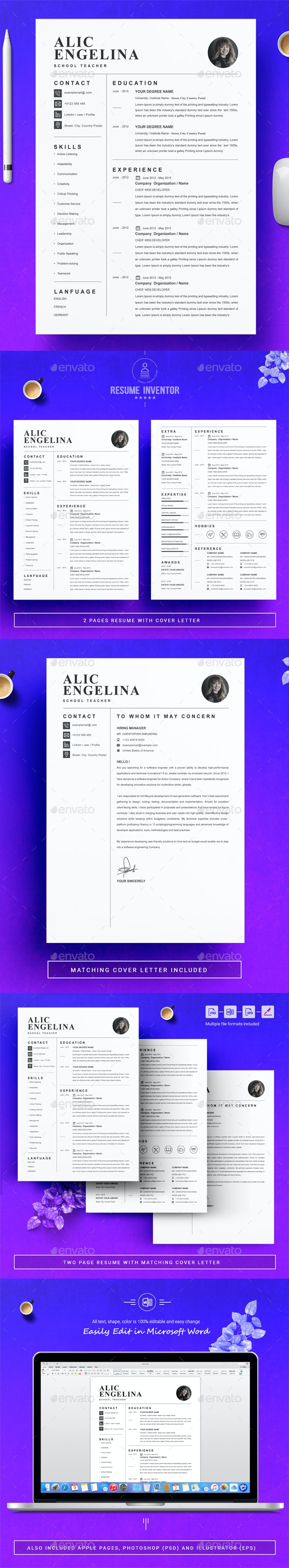 Resume Template / CV Template - Resumes Stationery