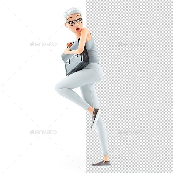 3D Afraid Senior Woman Holding Briefcase