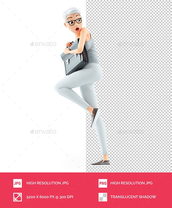 3D Afraid Senior Woman Holding Briefcase - Characters 3D Renders