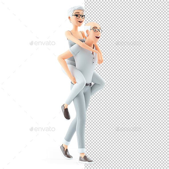 3D Senior Man Carrying Woman on his Back