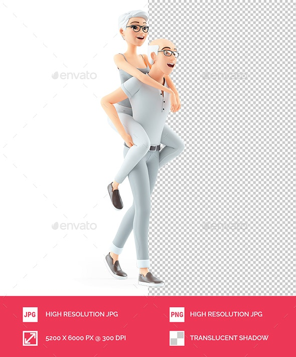 3D Senior Man Carrying Woman on his Back - Characters 3D Renders