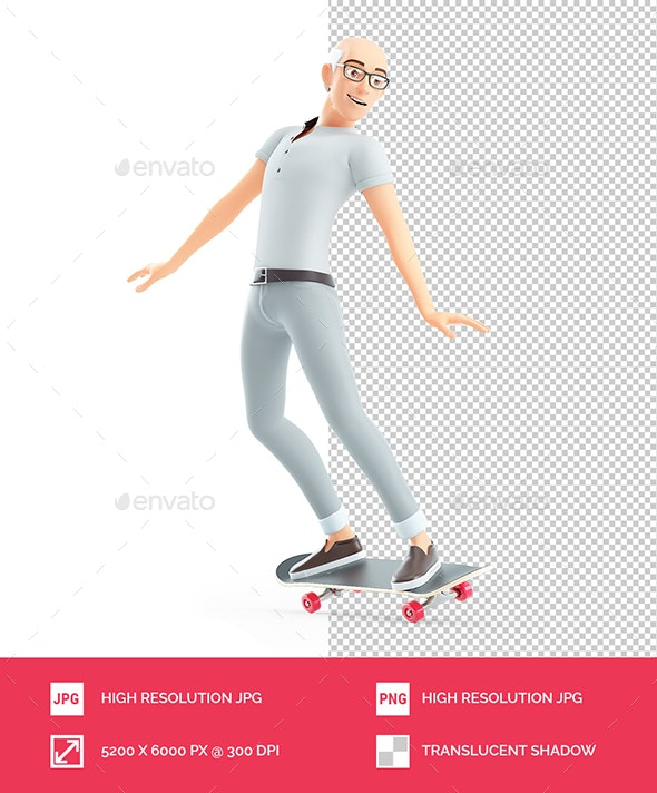 3D Senior Man doing Skateboard - Characters 3D Renders