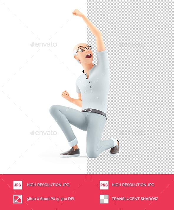 3D Senior Man in Winner Pose - Characters 3D Renders