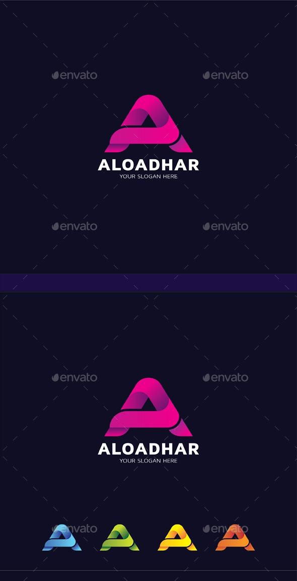 A Letter Gradient Logo Template - Logo Product Mock-Ups