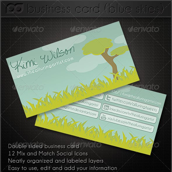 Blue Skies Double Sided Business Card