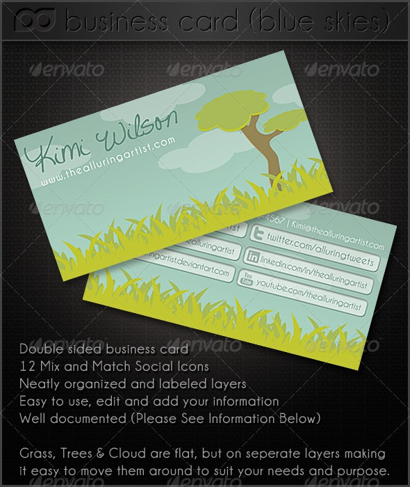 Blue Skies Double Sided Business Card - Creative Business Cards