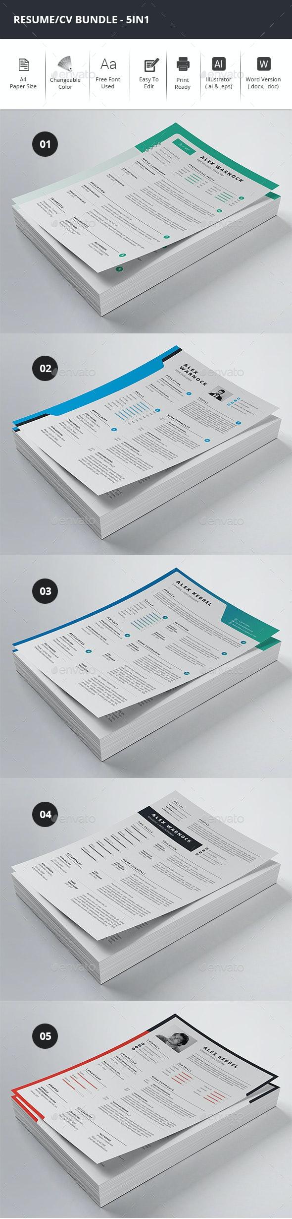 Clean Resume/CV Bundle - 5in1 - Resumes Stationery