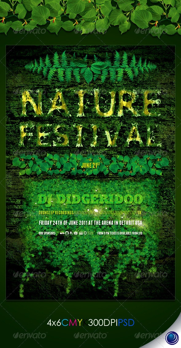 Environmental Nature Leafs Flyer Template - Clubs & Parties Events