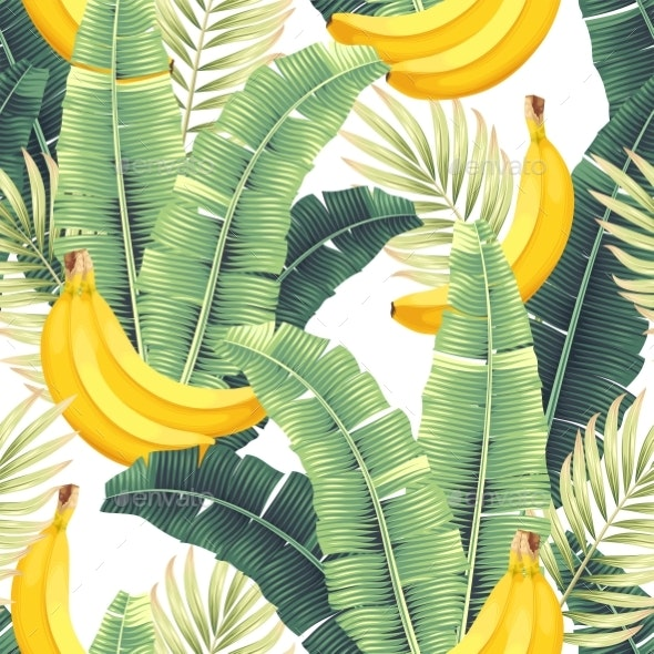 Vector Seamless Pattern with Banana and Leaves - Flowers & Plants Nature