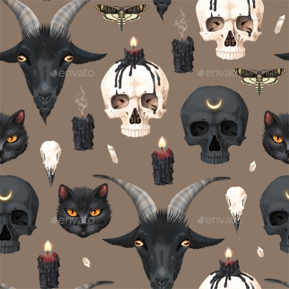 Vector Seamless Pattern with Skull and Candle - Backgrounds Decorative