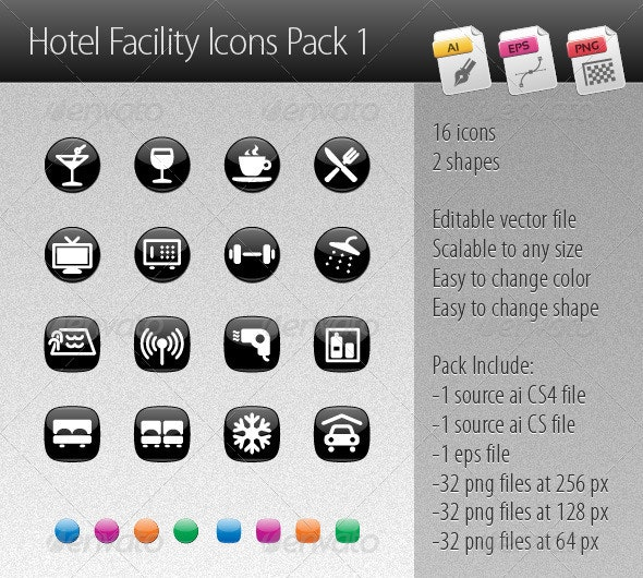 Hotel Facility Icons Pack 1 - Business Icons