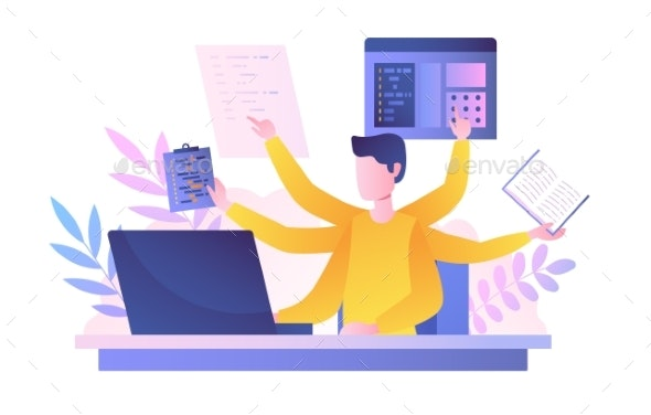 Multitasking Man in Office - Business Conceptual