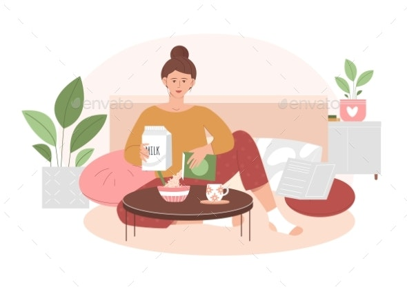 Young Cute Girl Having Breakfast at Home - People Characters