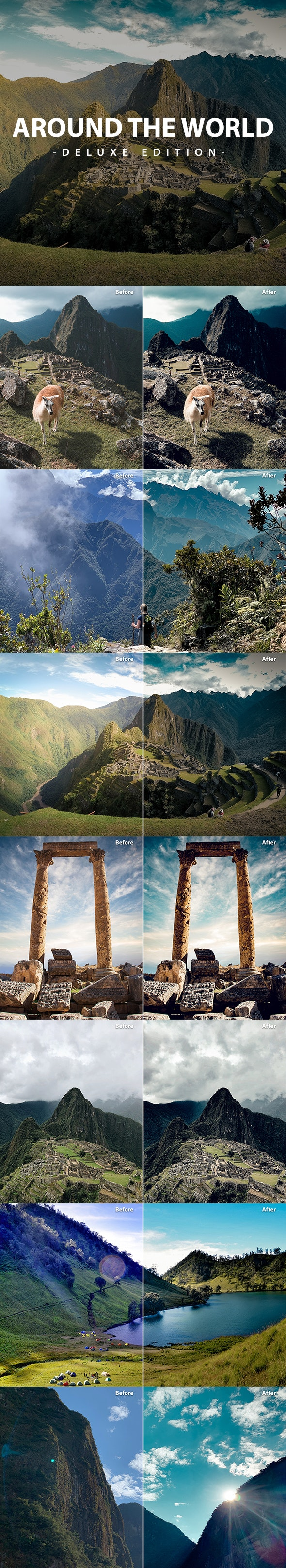Around The World Deluxe Edition For Mobile and PC - Landscape Lightroom Presets