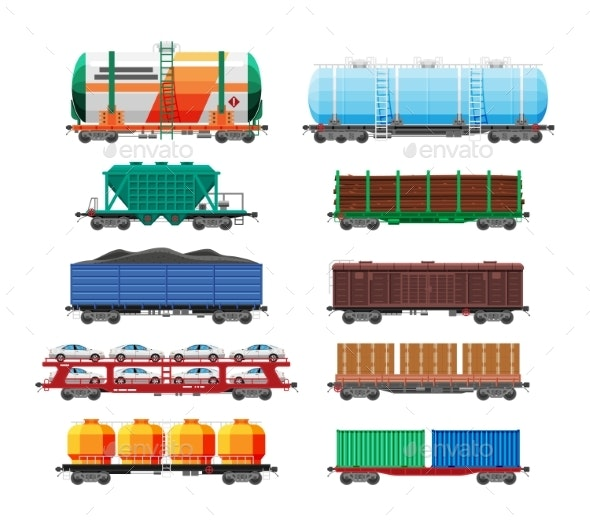 Set of Train Cargo Wagons Cisterns Tanks Cars - Man-made Objects Objects