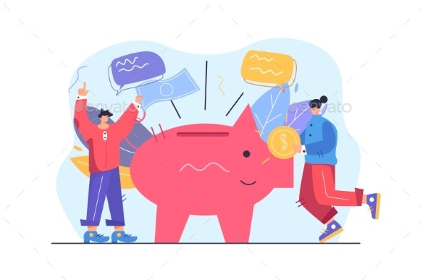 Guy and Girl Save Money in Flat Style - Business Conceptual