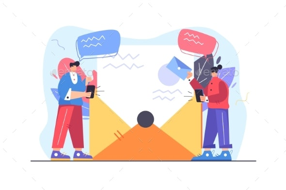 Concept of a Guy and a Girl Getting an Email - Technology Conceptual
