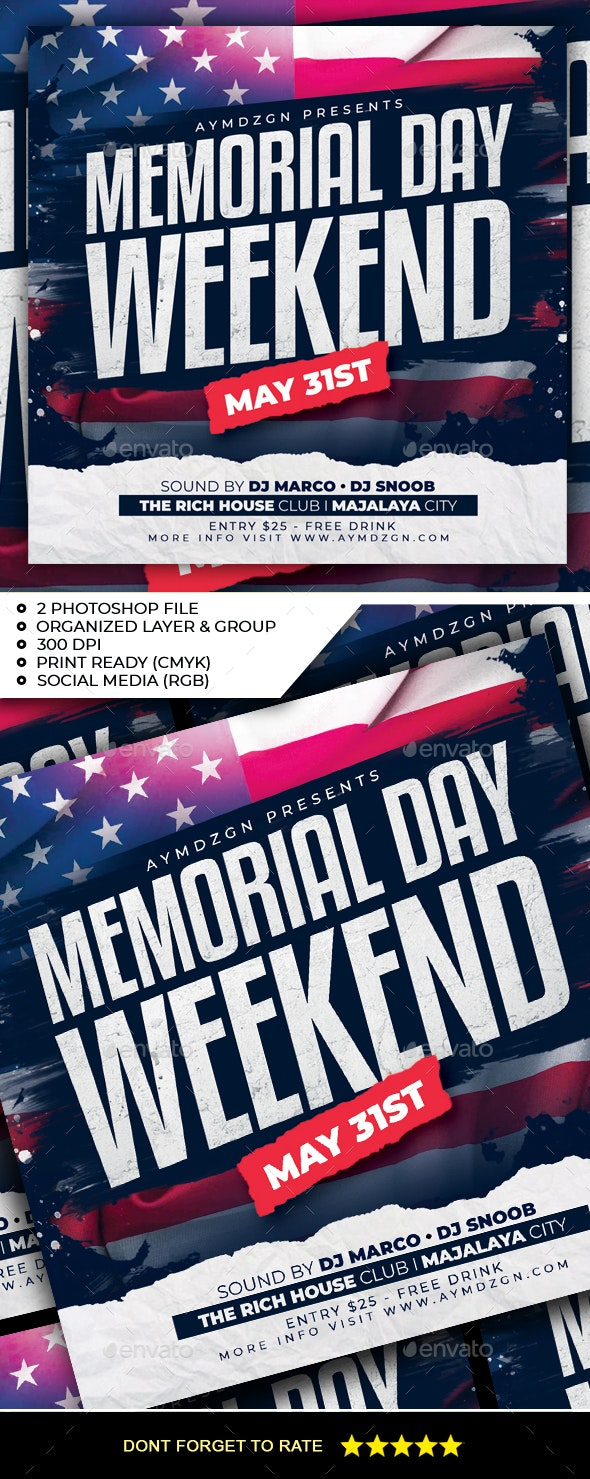 Memorial Day Weekend Flyer - Clubs & Parties Events