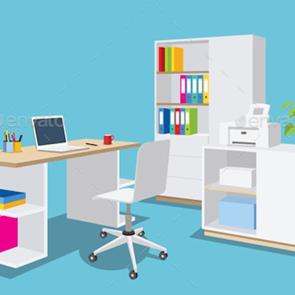 Isometric Office Room, Desk, Business Working Place illustration