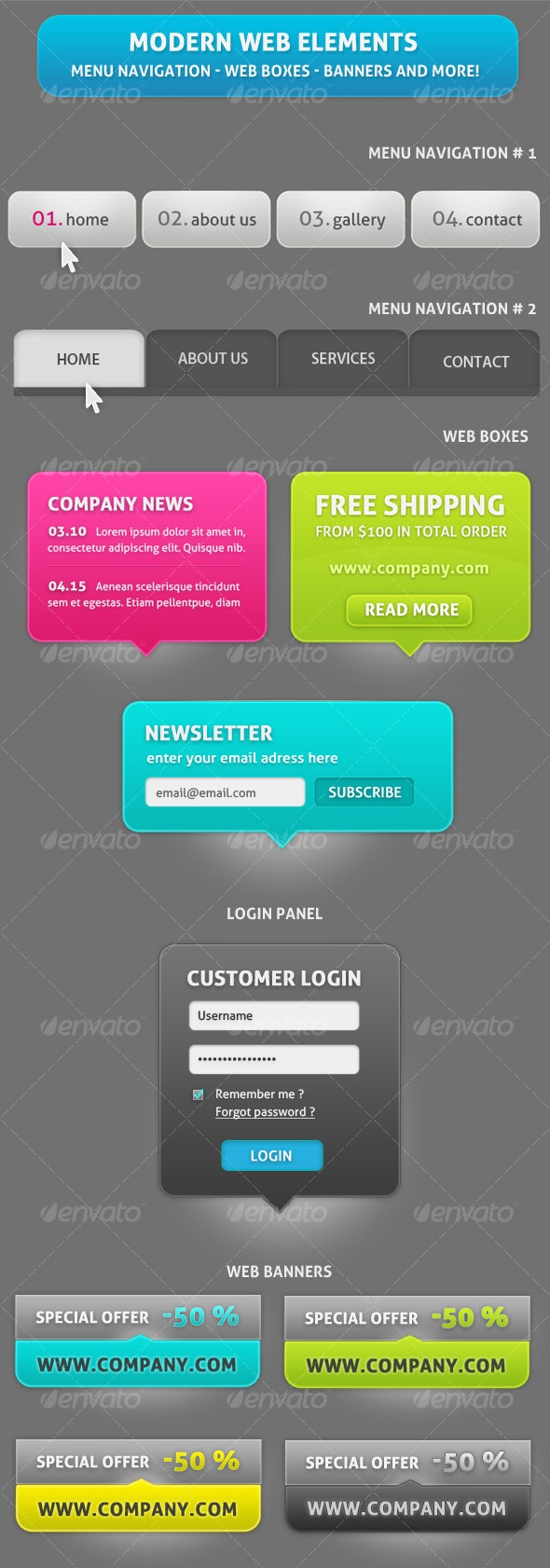 Differents Web Elements for your website ! - Backgrounds Graphics