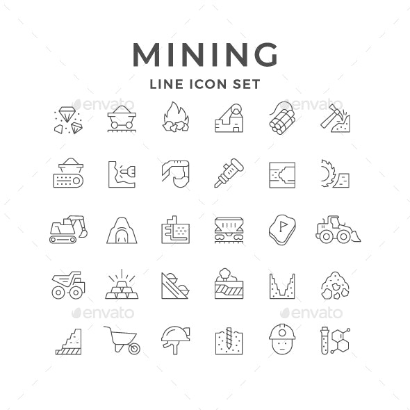 Set Line Icons of Mining Industry - Man-made objects Objects