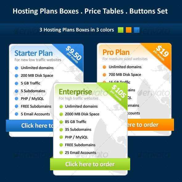 Hosting Plans Boxes Price Tables & Buttons Set