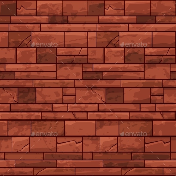 Seamless Pattern Brick Stone Wall Red Old Texture - Stone Textures