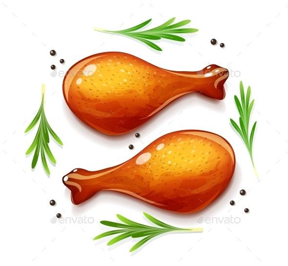 Chicken Leg. Turkey Haunch. Bird Food. Vector. Eps10 - Vectors