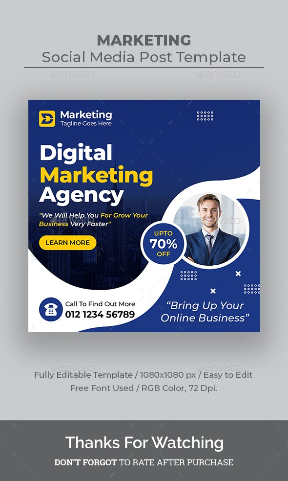 Digital Marketing Social Media Templates - Social Media Web Elements