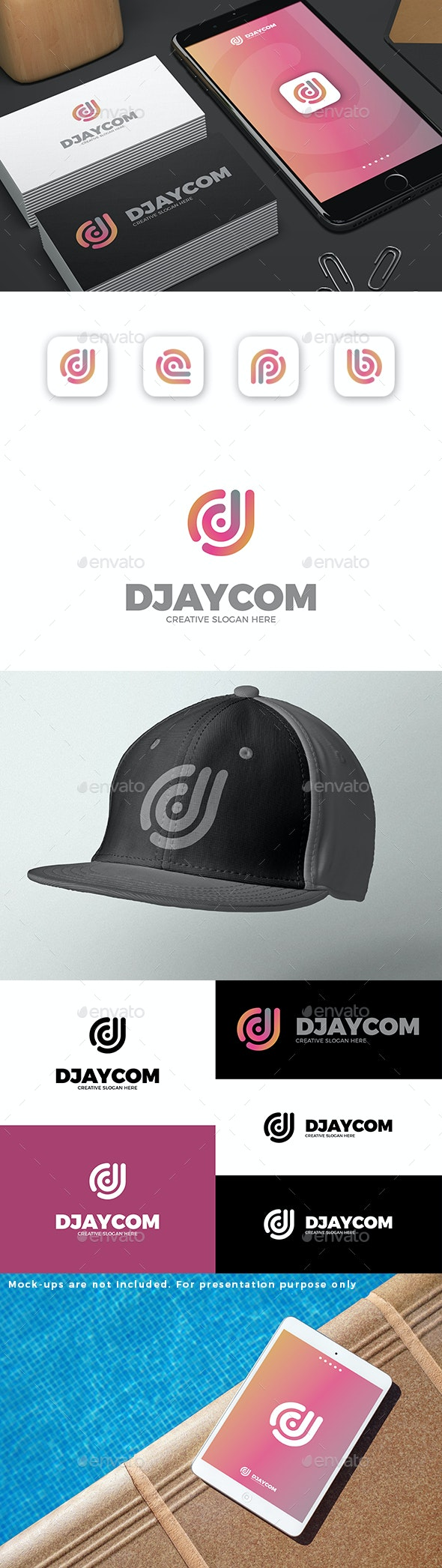 Abstract D or DJ Letter Logo - Letters Logo Templates
