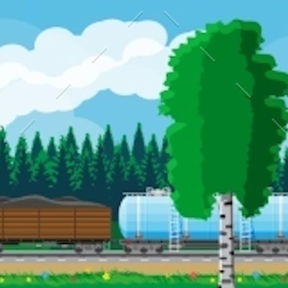 Cargo Rail Transportation Nature Landscape