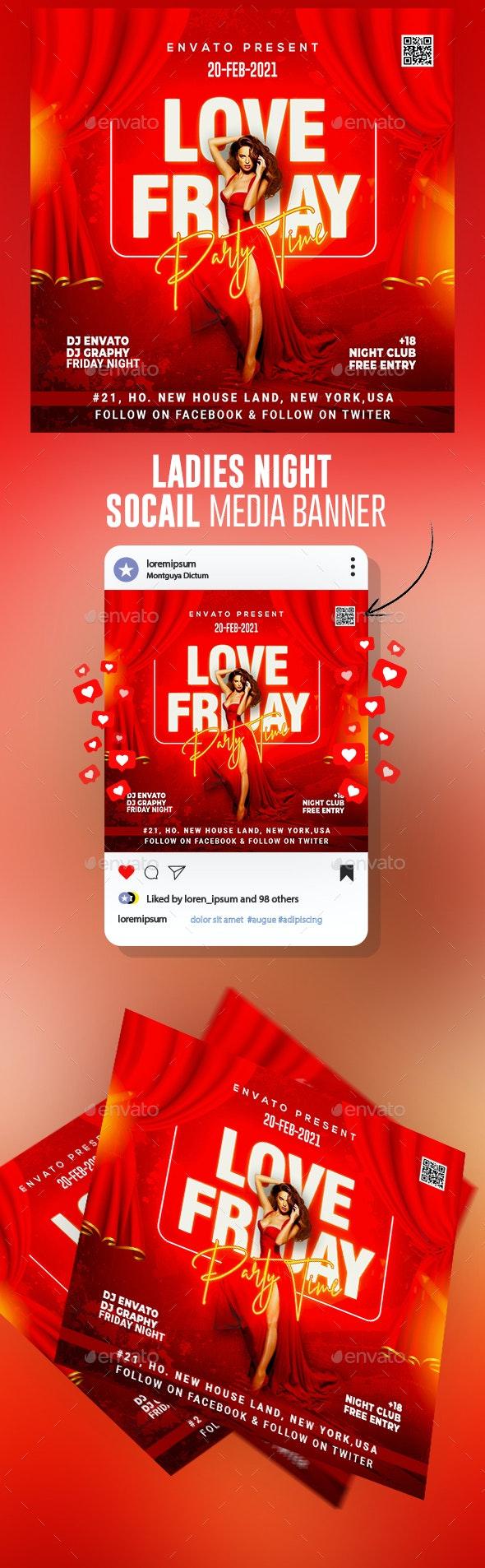 Ladies Night Club Flyer Template - Social Media Web Elements