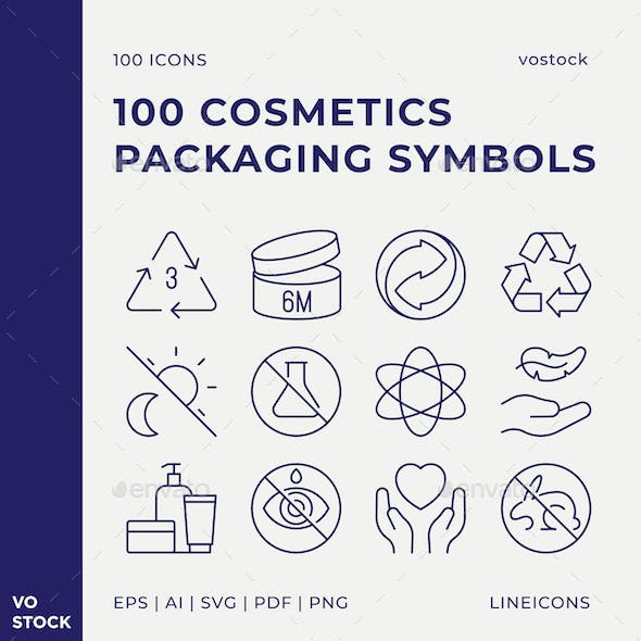 100 Cosmetics Packaging Icons